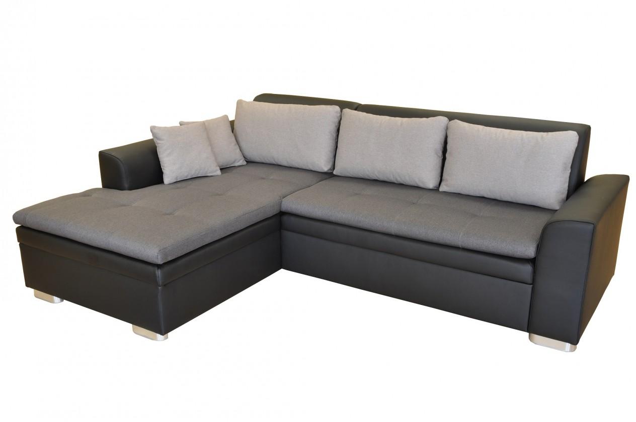 Rohová sedací souprava Rohová sedačka rozkládací Vanilla levý roh ÚP černá, šedá