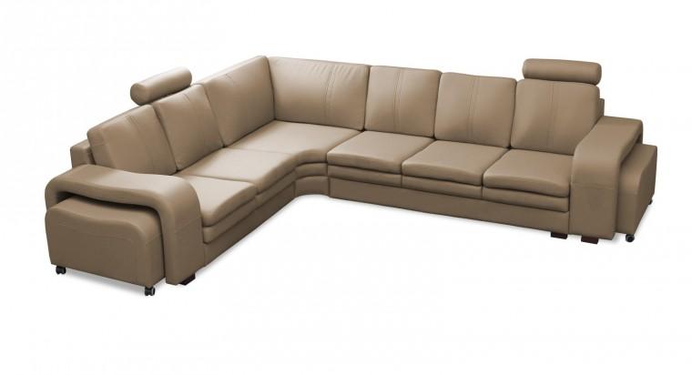 Rohová sedací souprava Rohová sedačka Soft levý roh, 2x taburet (eko kůže)
