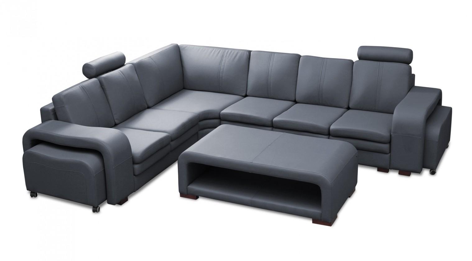 Rohová sedací souprava Rohová sedačka Soft levý roh, 2x taburet, stolek (eko kůže)