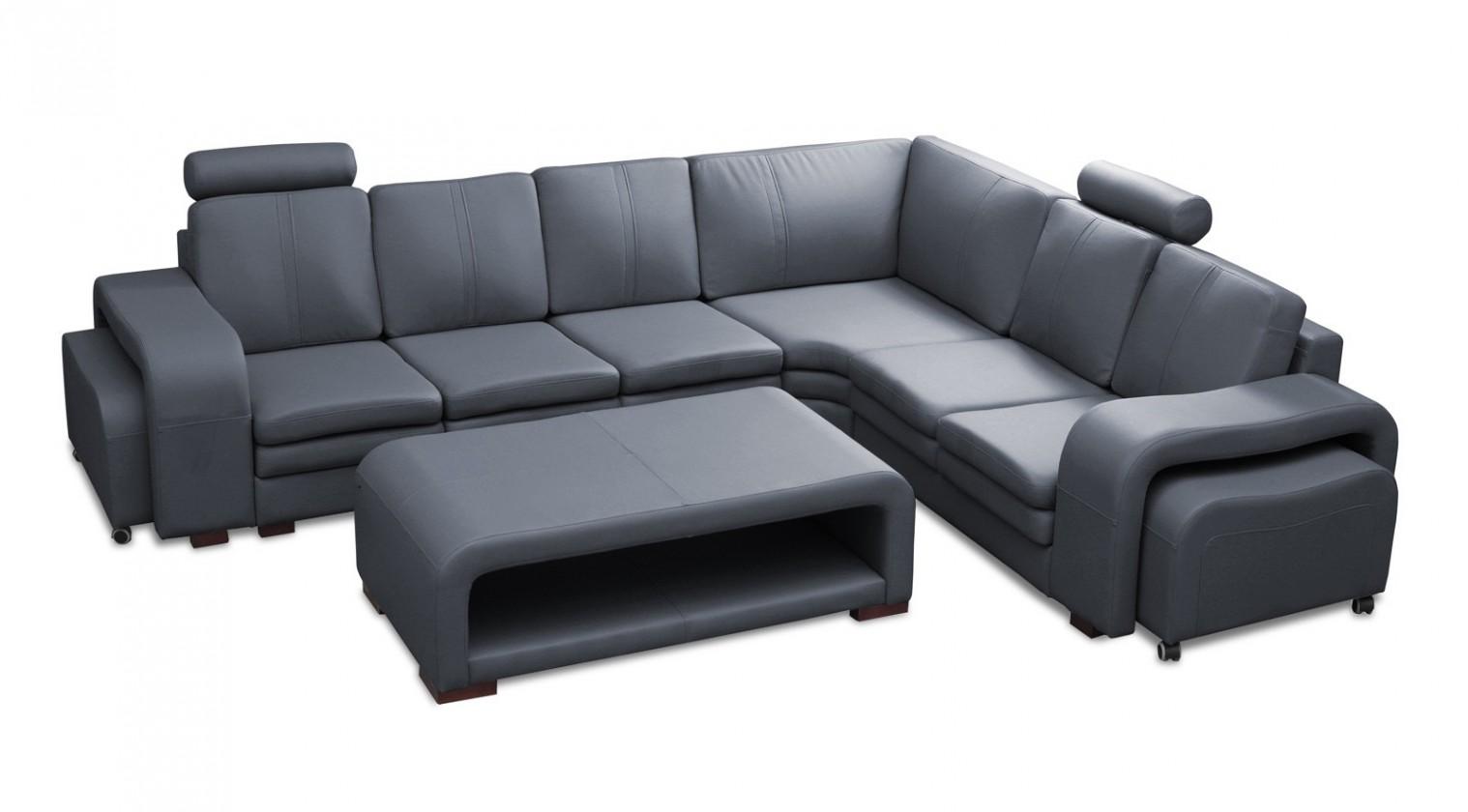 Rohová sedací souprava Rohová sedačka Soft pravý roh, 2x taburet, stolek (eko kůže)