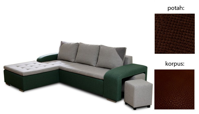 Rohová sedací souprava Simple plus - levý roh (cross 25 sk.3 sedák/giovanni 6 sk.3)