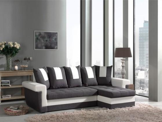 Rohová sedací souprava Tulum-univerzální (savana grey-hl.látka/pvc white-doplň.látka)