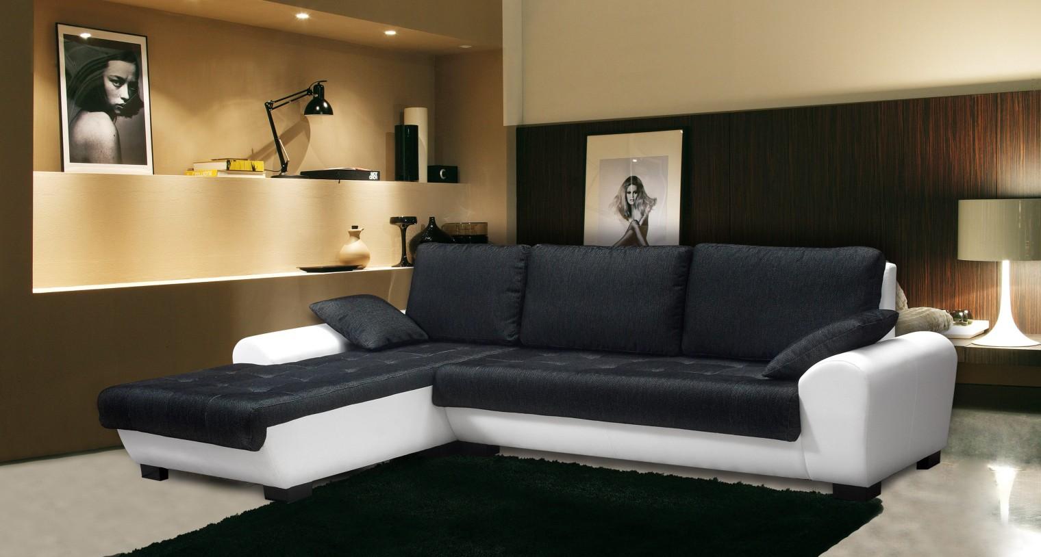 Rohová sedací souprava Yvette - levý roh (savana black pvc white)