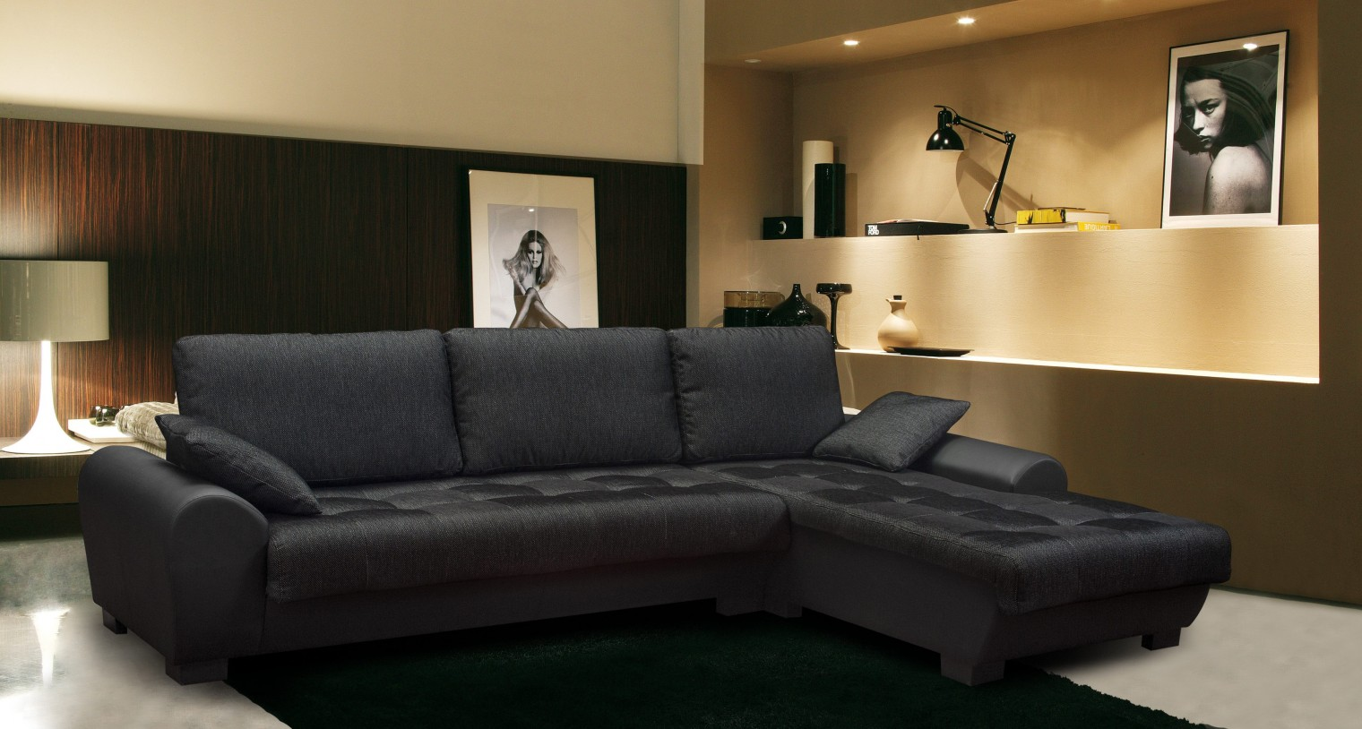 Rohová sedací souprava Yvette - Roh pravý (savana black pvc black)