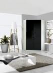 Rohová skříň Clack - 2x dveře (černá/bílá)