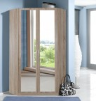 Rohová skříň Sprint - 198 cm,2x zrcadlo (dub hrubá struktura)
