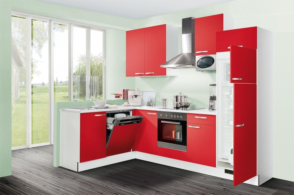 Rohová Slowfox - Kuchyň rohová, 280x175cm (červená/bílá)