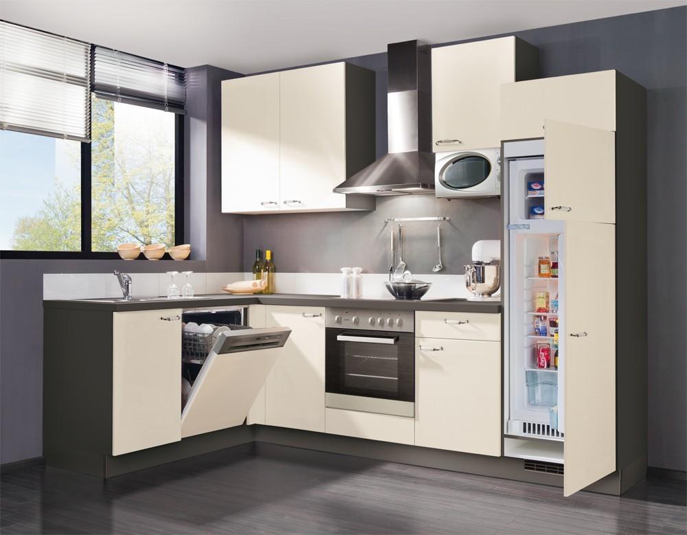 Rohová Slowfox - Kuchyň rohová, 280x175cm (magnolie/šedá)