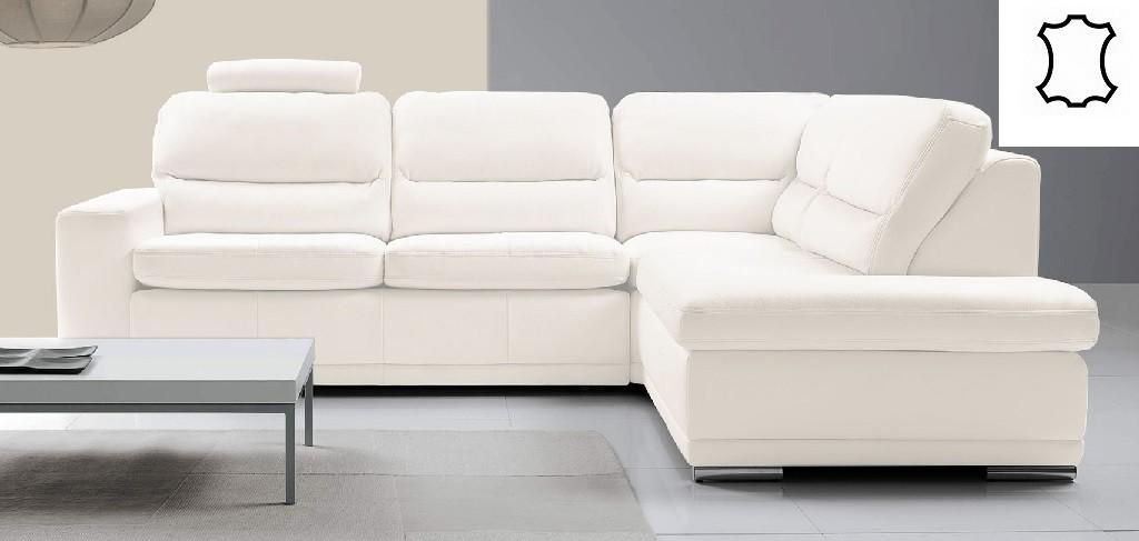 Rohové Kožená sedačka rozkládací Bono pravý roh bílá