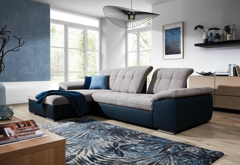 Rohové Rohová sedačka rozkládací Ateca levý roh ÚP šedá, modrá