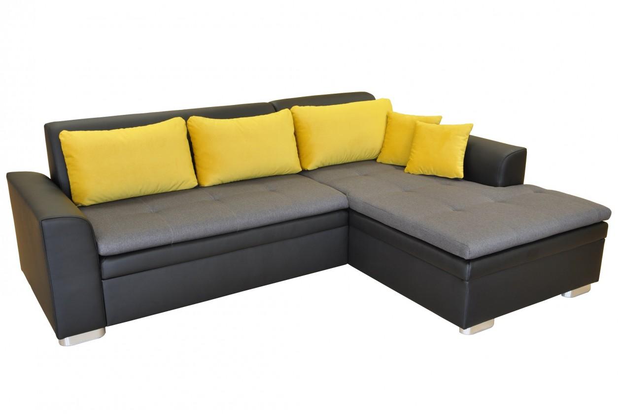 Rohové Rohová sedačka rozkládací Vanilla pravý roh ÚP černá šedá, žlutá
