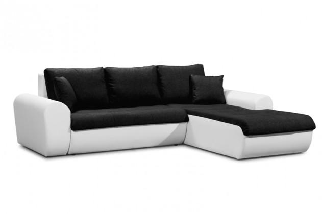Rohové Rohová sedačka rozkládací Yvette pravý roh bílá, černá