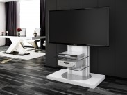 Roma - TV stolek s držákem (bílá vysoký lesk)