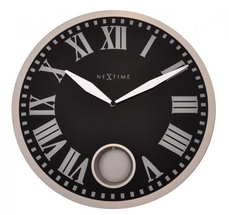Romana - hodiny, nástěnné kyvadlové, kulaté (sklo, černé)