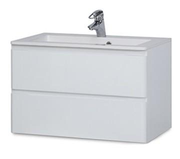 Rouen - Skříňka s umyvadlem 80 cm (bílá vysoký lesk)