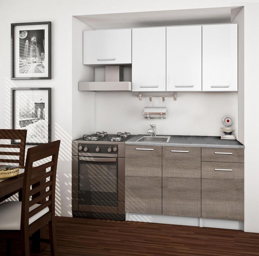 Rovná Basic - Kuchyňský blok A, 180/120 cm (bílá, trufle, titan)