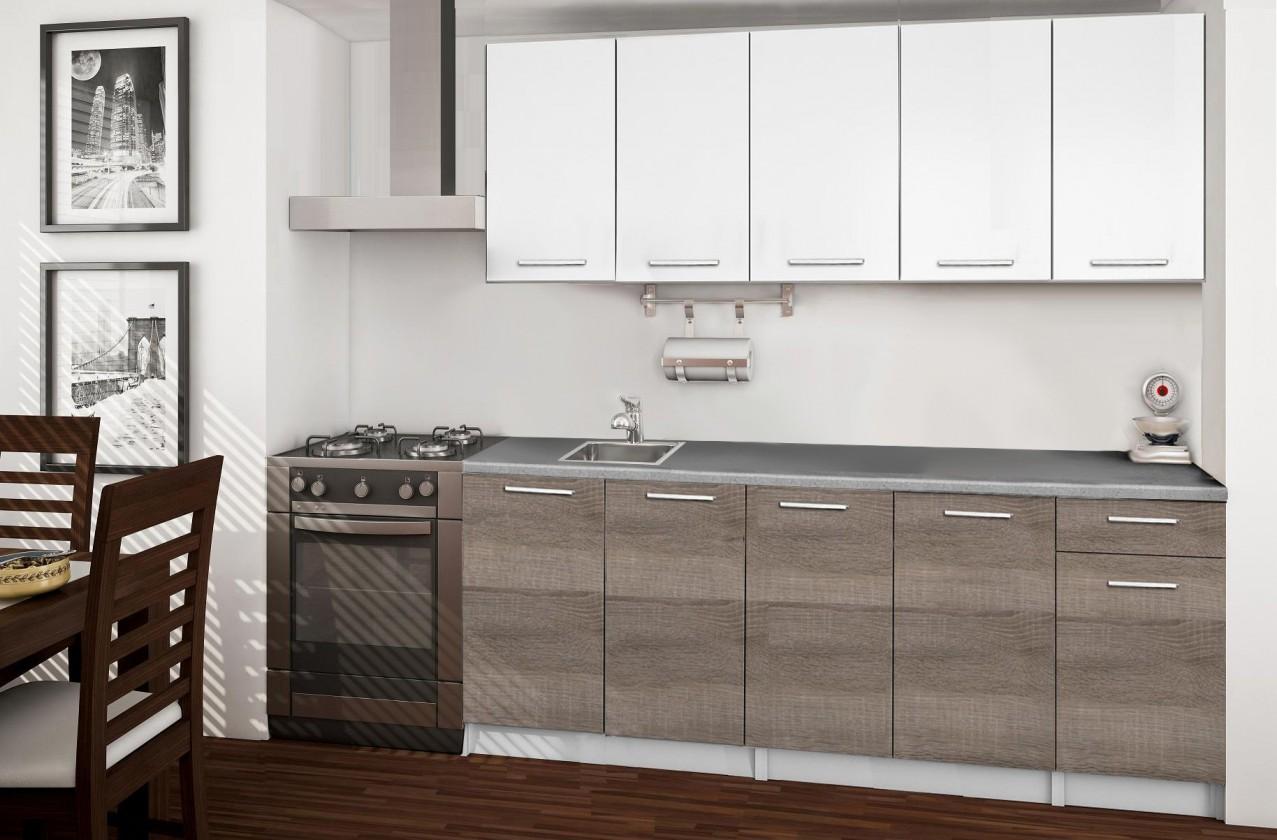 Rovná Basic - Kuchyňský blok A, 200 cm (bílá, trufle, titan)