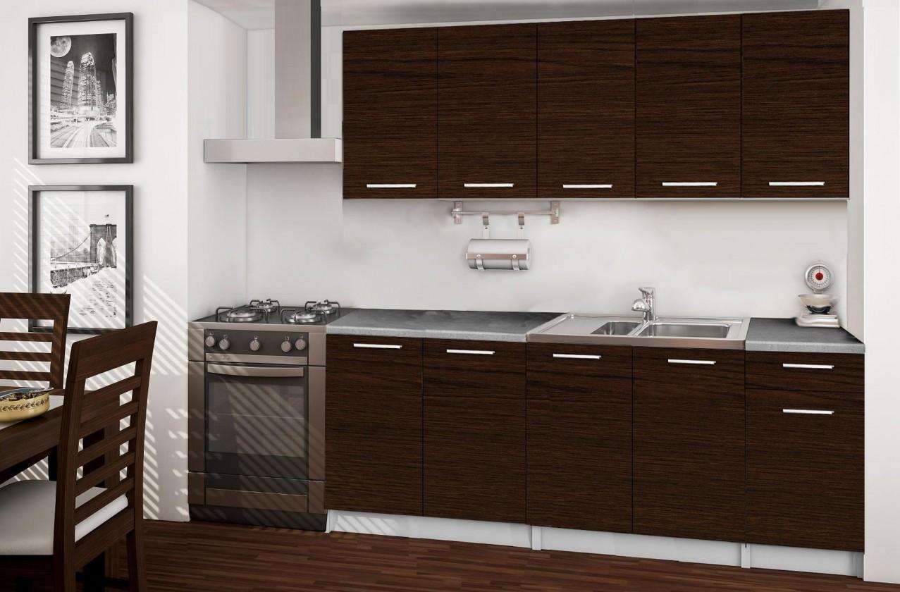 Rovná Basic - kuchyňský blok A, 200 cm (wenge)