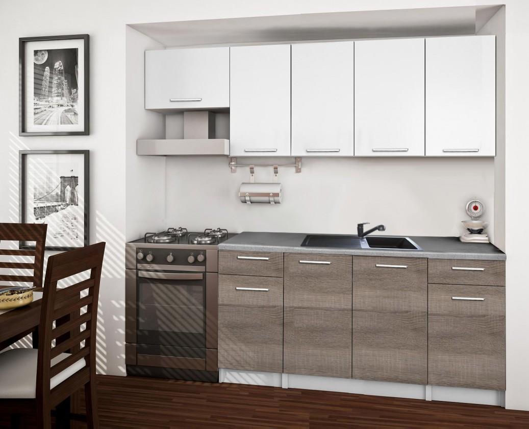 Rovná Basic - Kuchyňský blok A, 220/160 cm (bílá, trufle, titan)