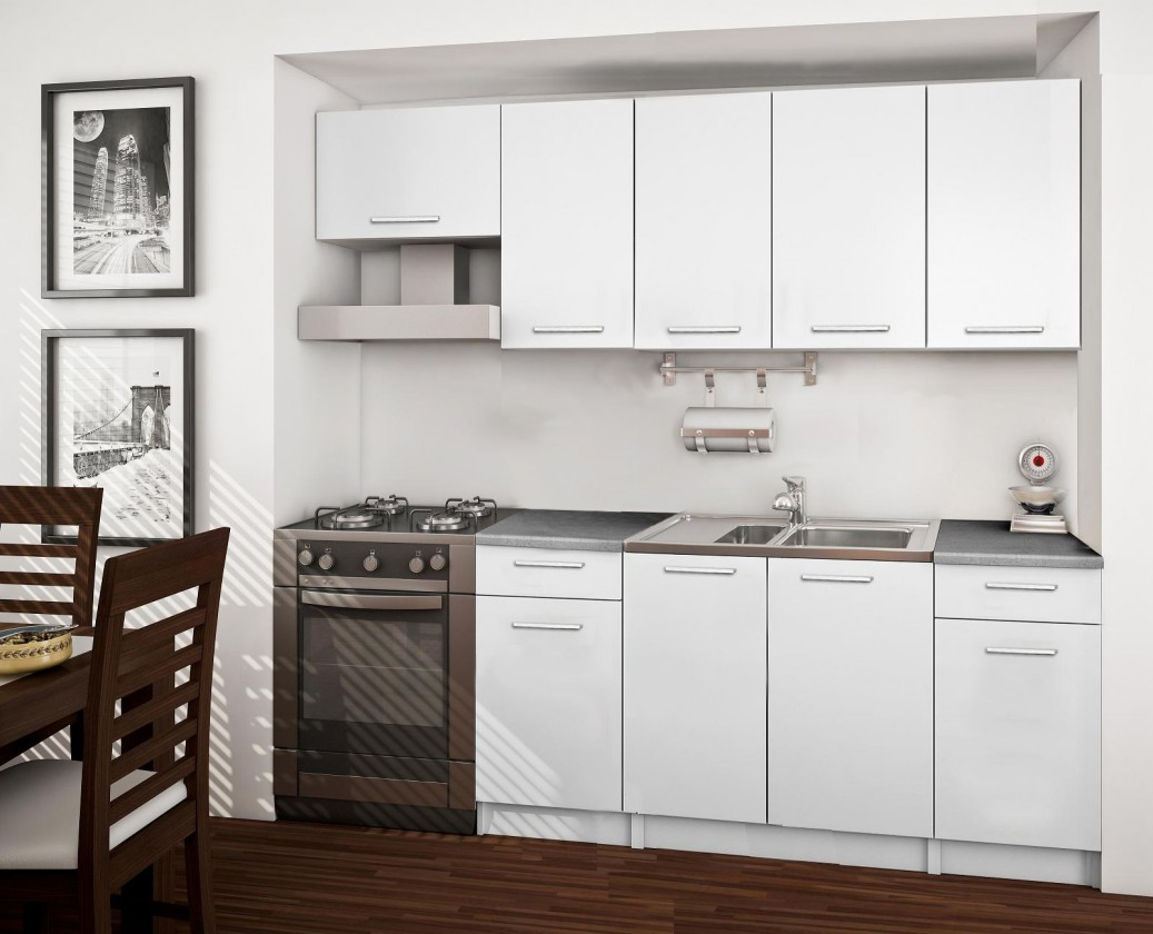 Rovná Basic - kuchyňský blok A, 220 cm (bílá)