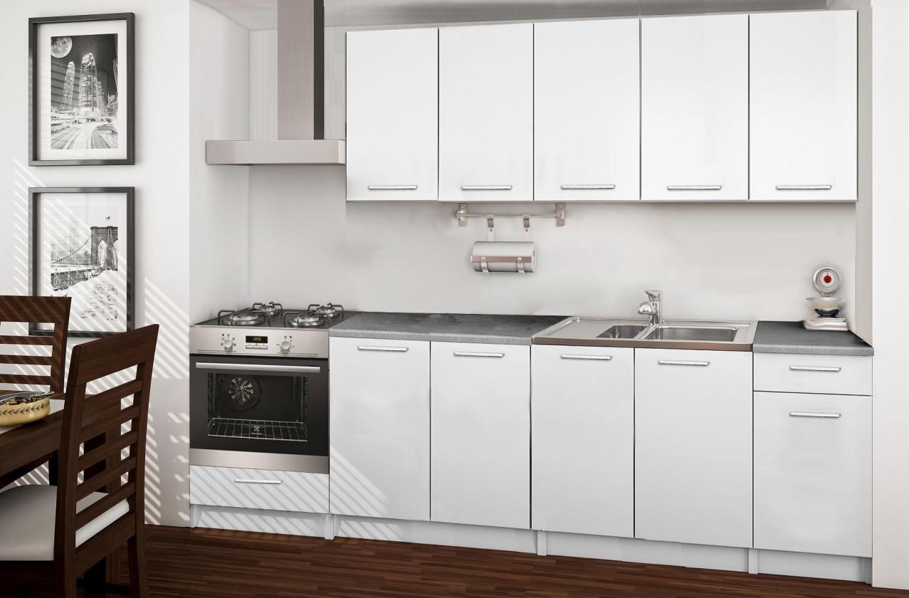 Rovná Basic - kuchyňský blok A, 260 cm (bílá)