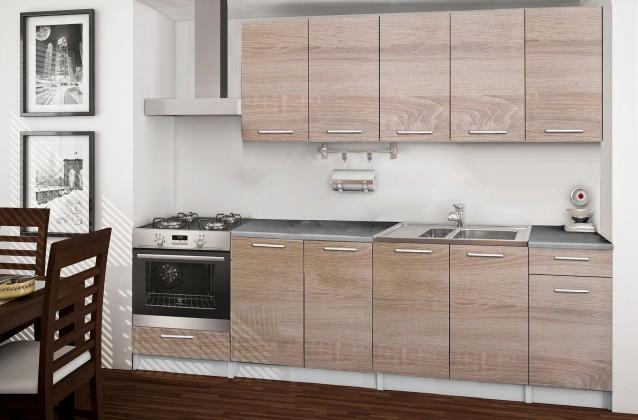 Rovná Basic - kuchyňský blok A, 260 cm (dub sonoma)