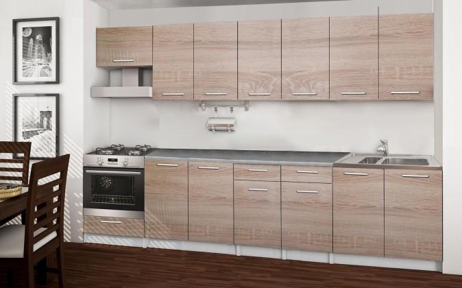 Rovná Basic - kuchyňský blok A, 300 cm (dub sonoma)
