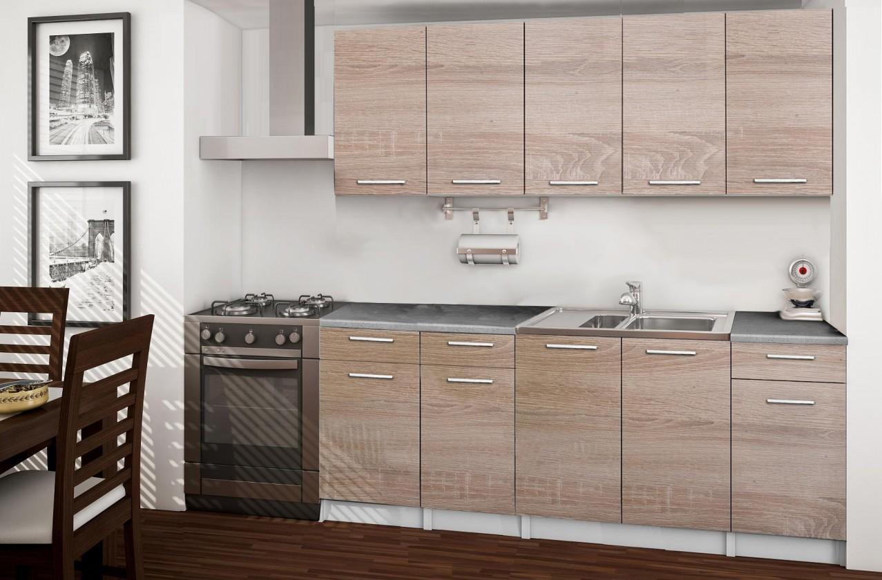 Rovná Basic - kuchyňský blok B, 200 cm (dub sonoma)