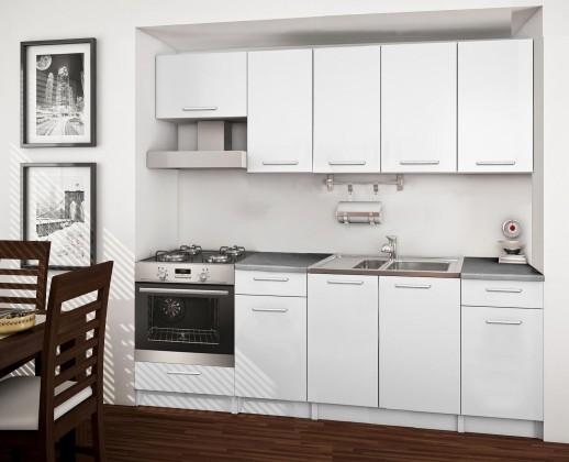 Rovná Basic - kuchyňský blok B, 220 cm (bílá)