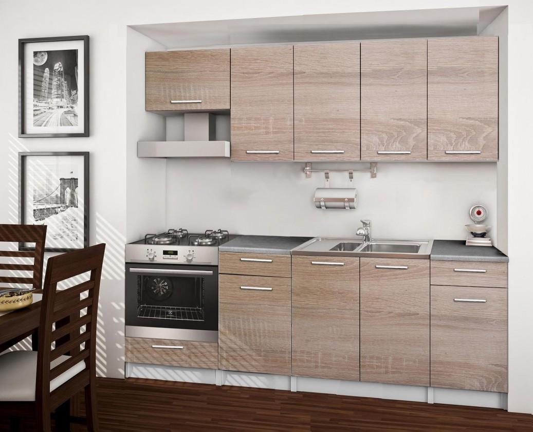 Rovná Basic - kuchyňský blok B, 220 cm (dub sonoma)