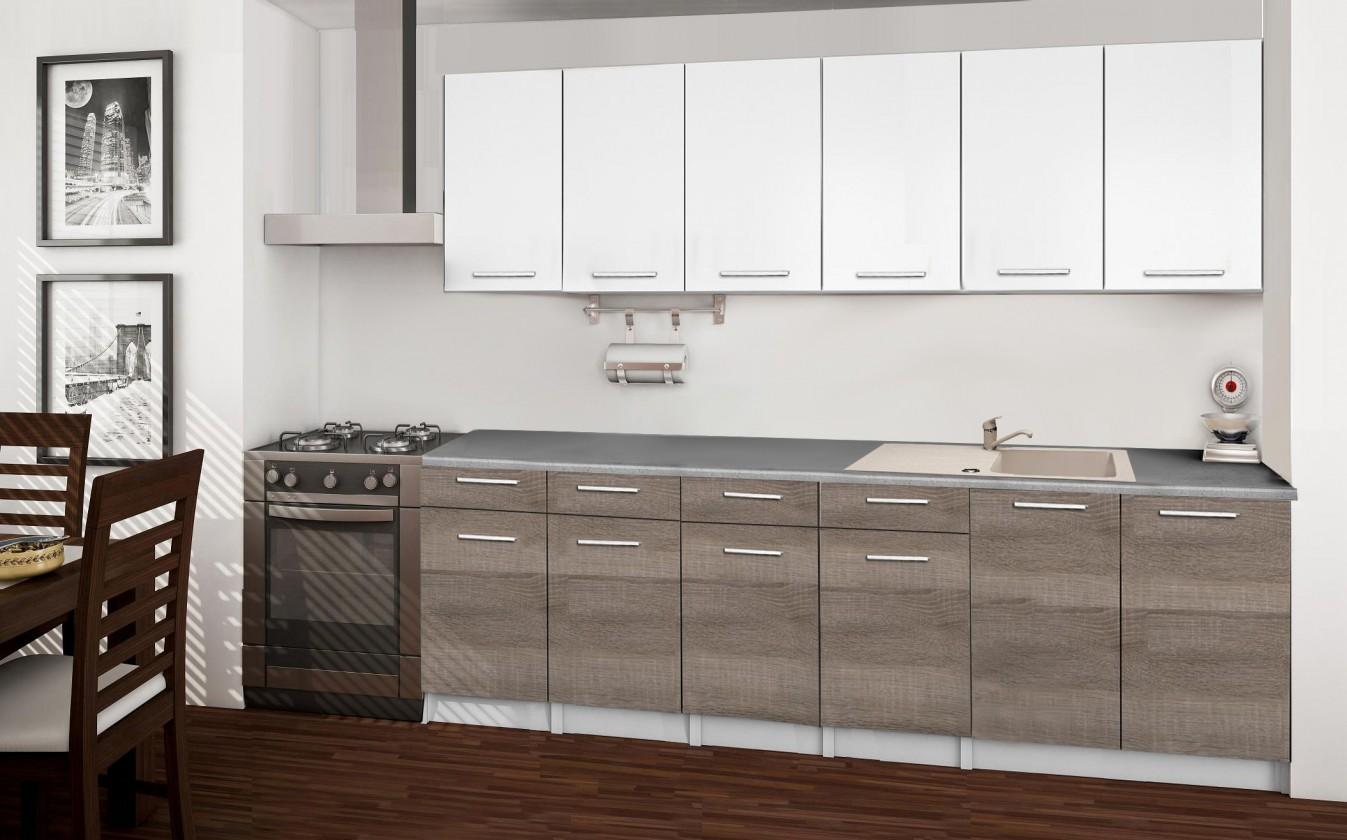 Rovná Basic - Kuchyňský blok B, 240 cm (bílá, trufle, titan)