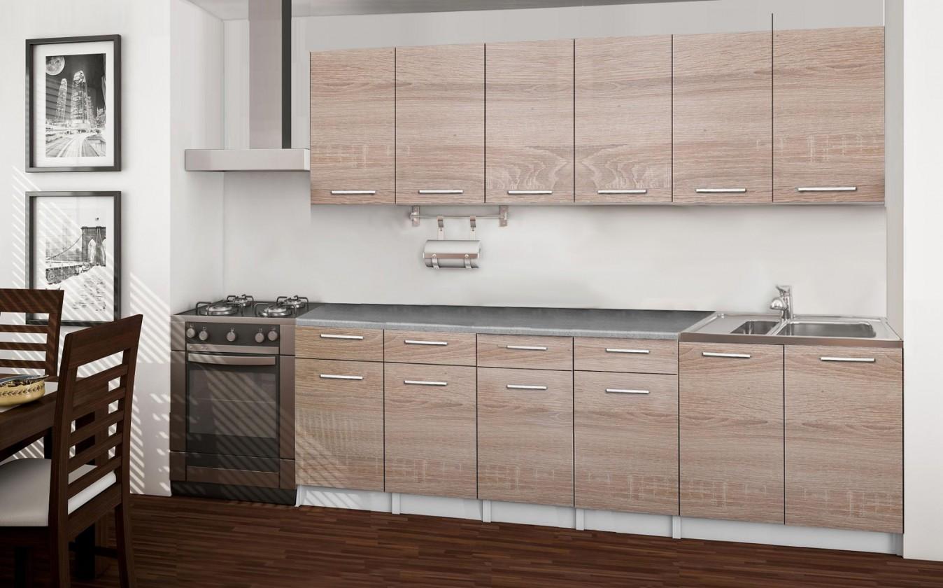 Rovná Basic - kuchyňský blok B, 240 cm (dub sonoma)
