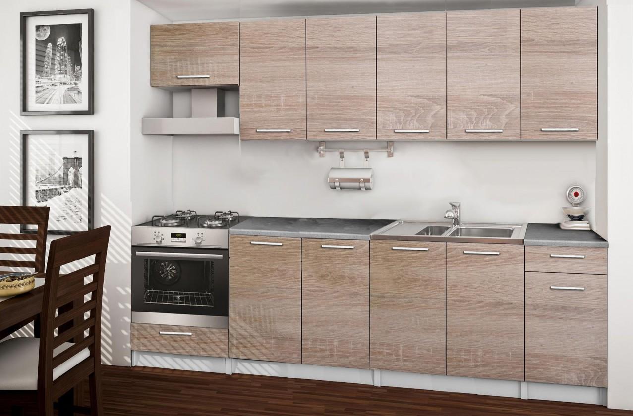 Rovná Basic - kuchyňský blok B, 260 cm (dub sonoma)