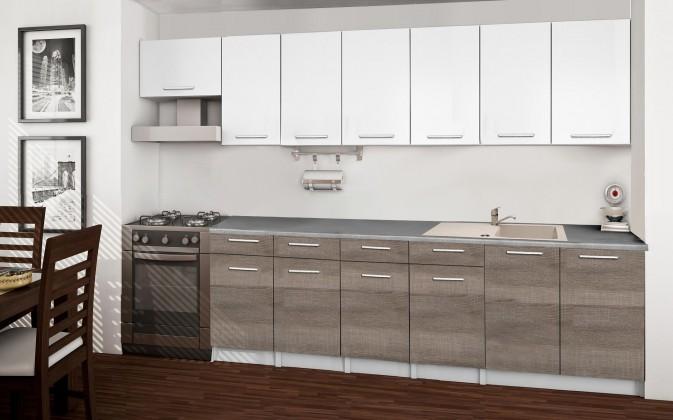 Rovná Basic - Kuchyňský blok B, 300/240 cm (bílá, trufle, titan)