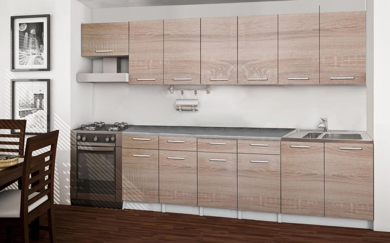 Rovná Basic - kuchyňský blok B, 300 cm (dub sonoma)