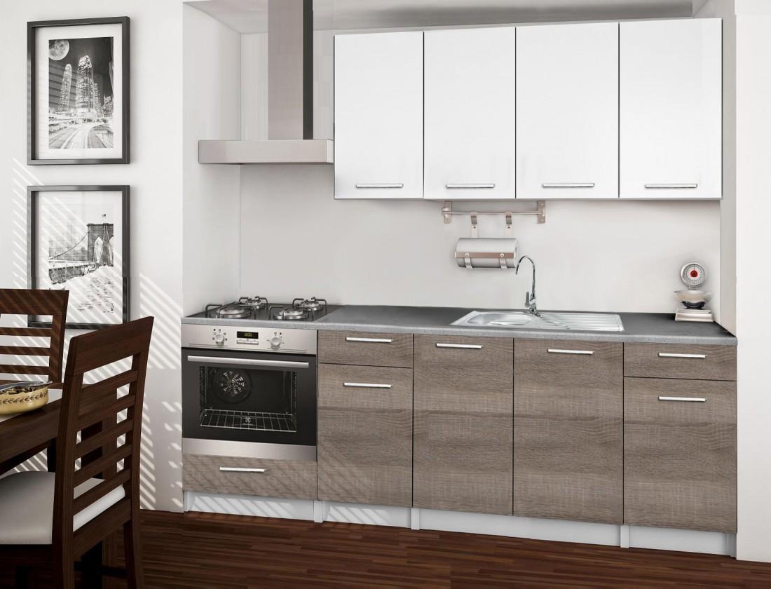 Rovná Basic - Kuchyňský blok C, 220/160 cm (bílá, trufle, titan)