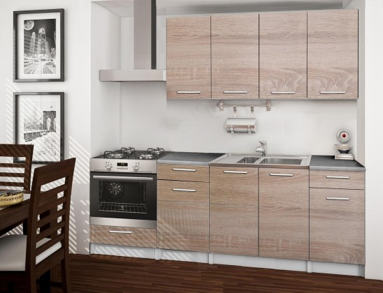 Rovná Basic - kuchyňský blok C, 220 cm (dub sonoma)
