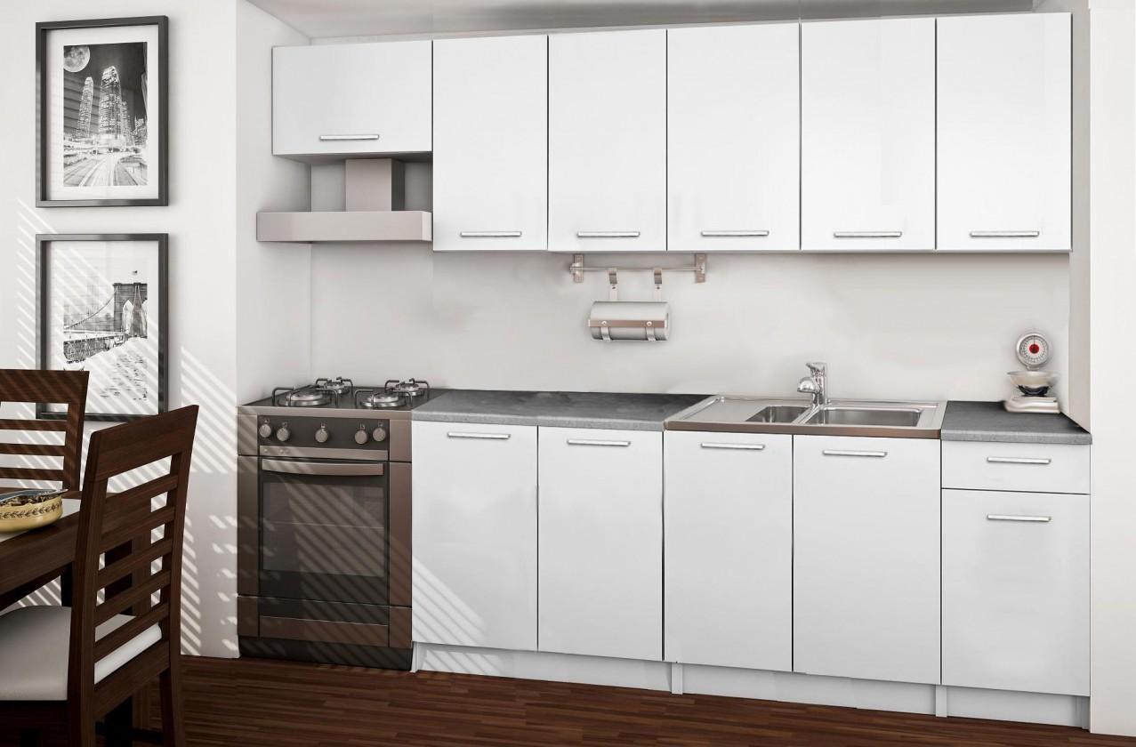 Rovná Basic - kuchyňský blok C, 260 cm (bílá)