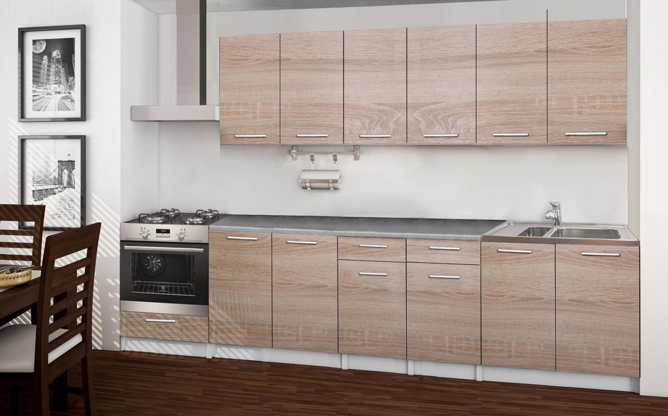 Rovná Basic - kuchyňský blok C, 300 cm (dub sonoma)
