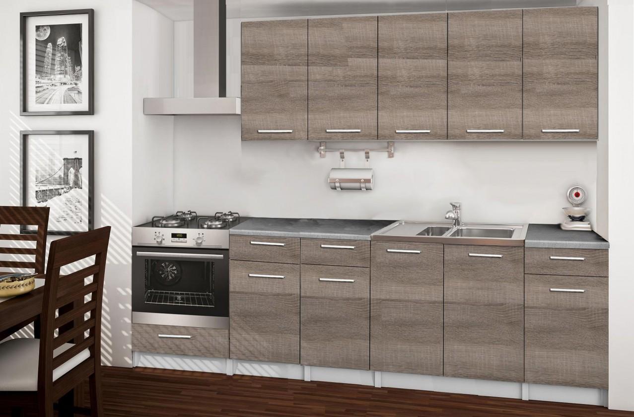 Rovná Basic - kuchyňský blok D, 260 cm (dub truffle)