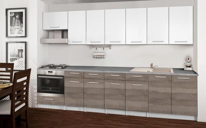 Rovná Basic - Kuchyňský blok D, 300 cm (bílá, trufle, titan)