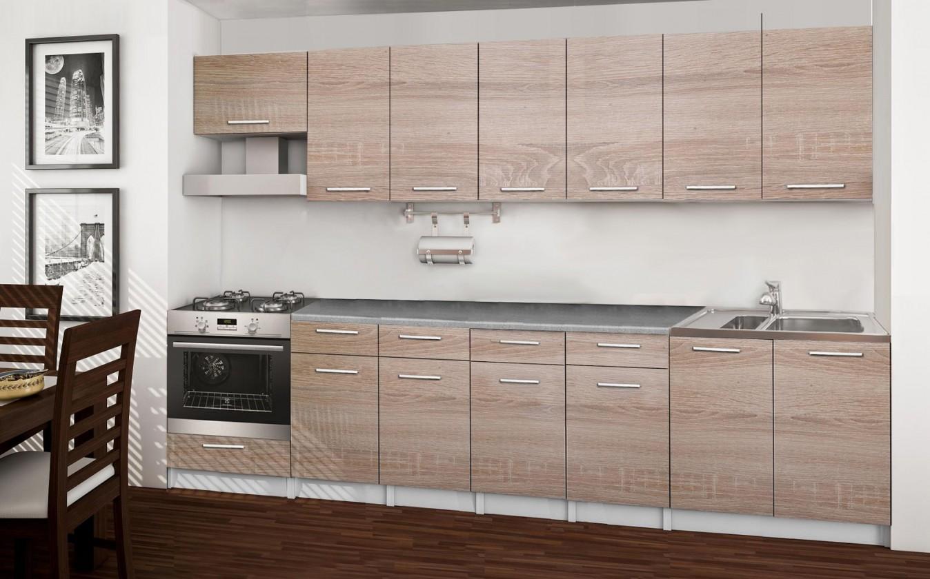 Rovná Basic - kuchyňský blok D, 300 cm (dub sonoma)