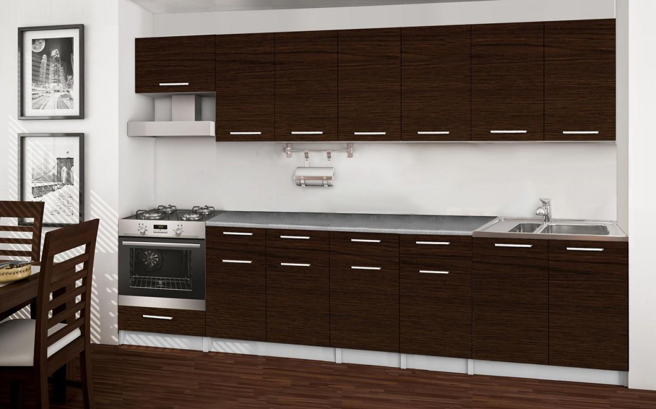 Rovná Basic - kuchyňský blok D, 300 cm (wenge)
