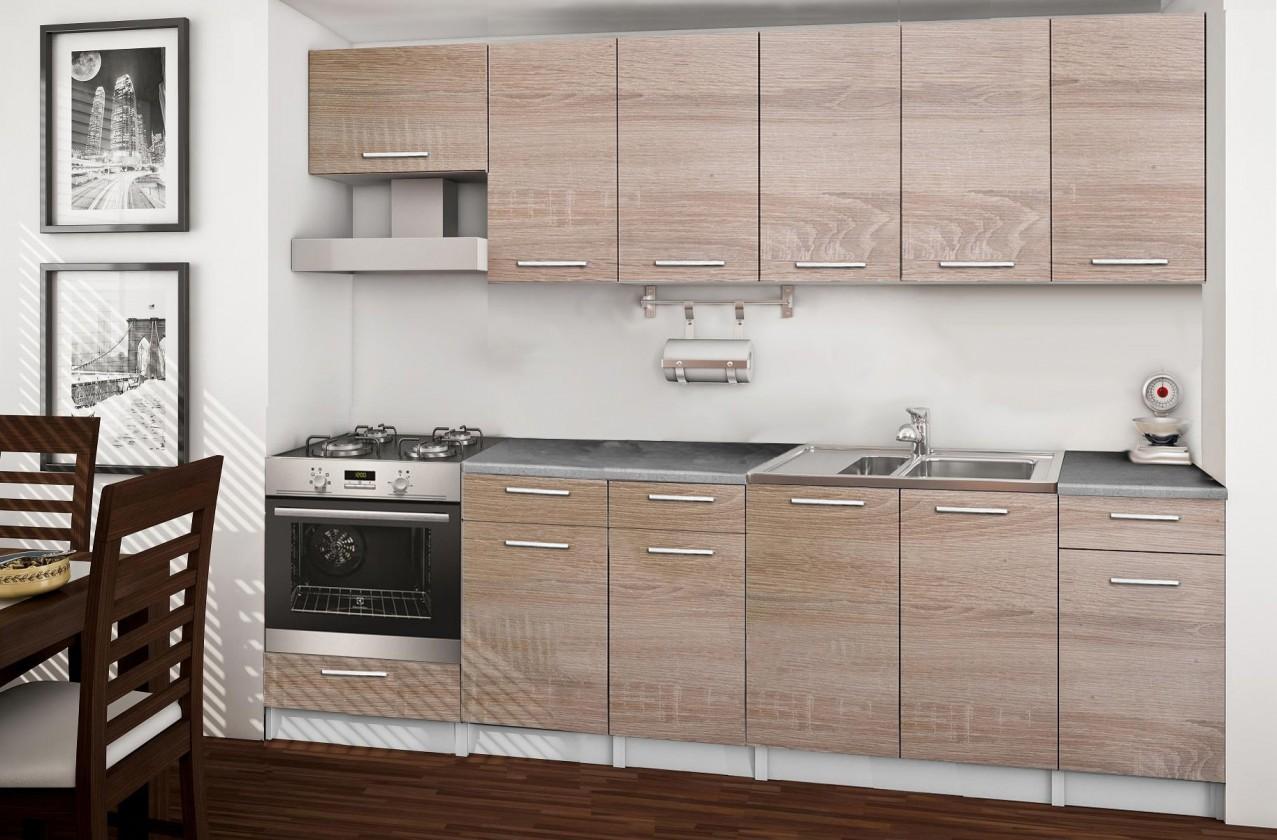 Rovná Basic - kuchyňský blok E, 260 cm (dub sonoma)