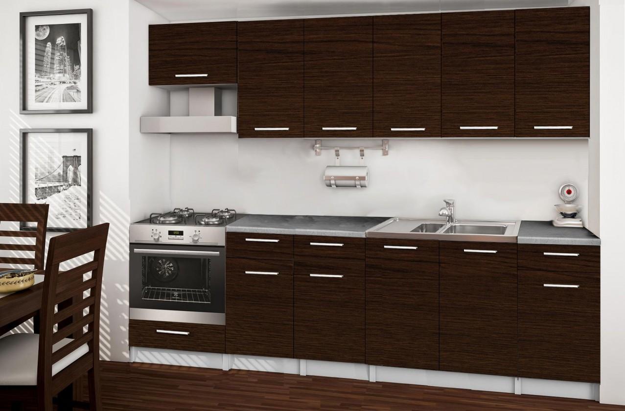 Rovná Basic - kuchyňský blok E, 260 cm (wenge)