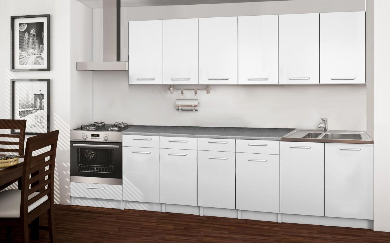 Rovná Basic - kuchyňský blok E, 300 cm (bílá)