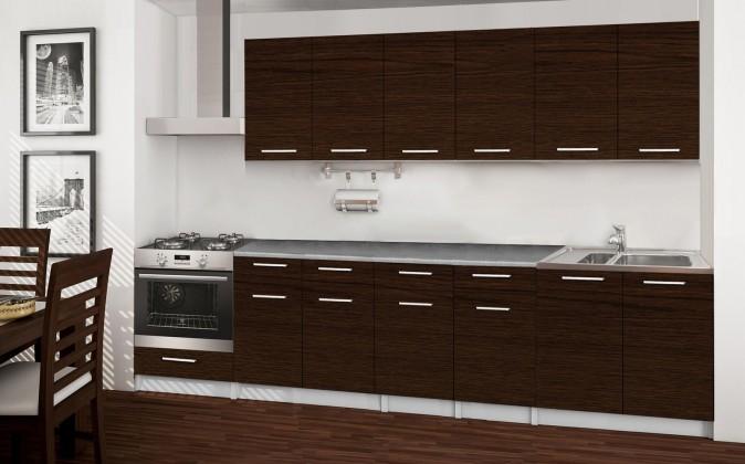 Rovná Basic - kuchyňský blok E, 300 cm (wenge)