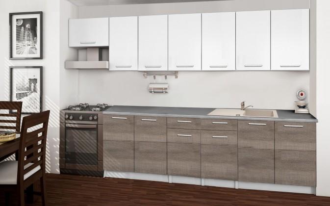 Rovná Basic - Kuchyňský blok F, 300/240 cm (bílá, trufle, titan)