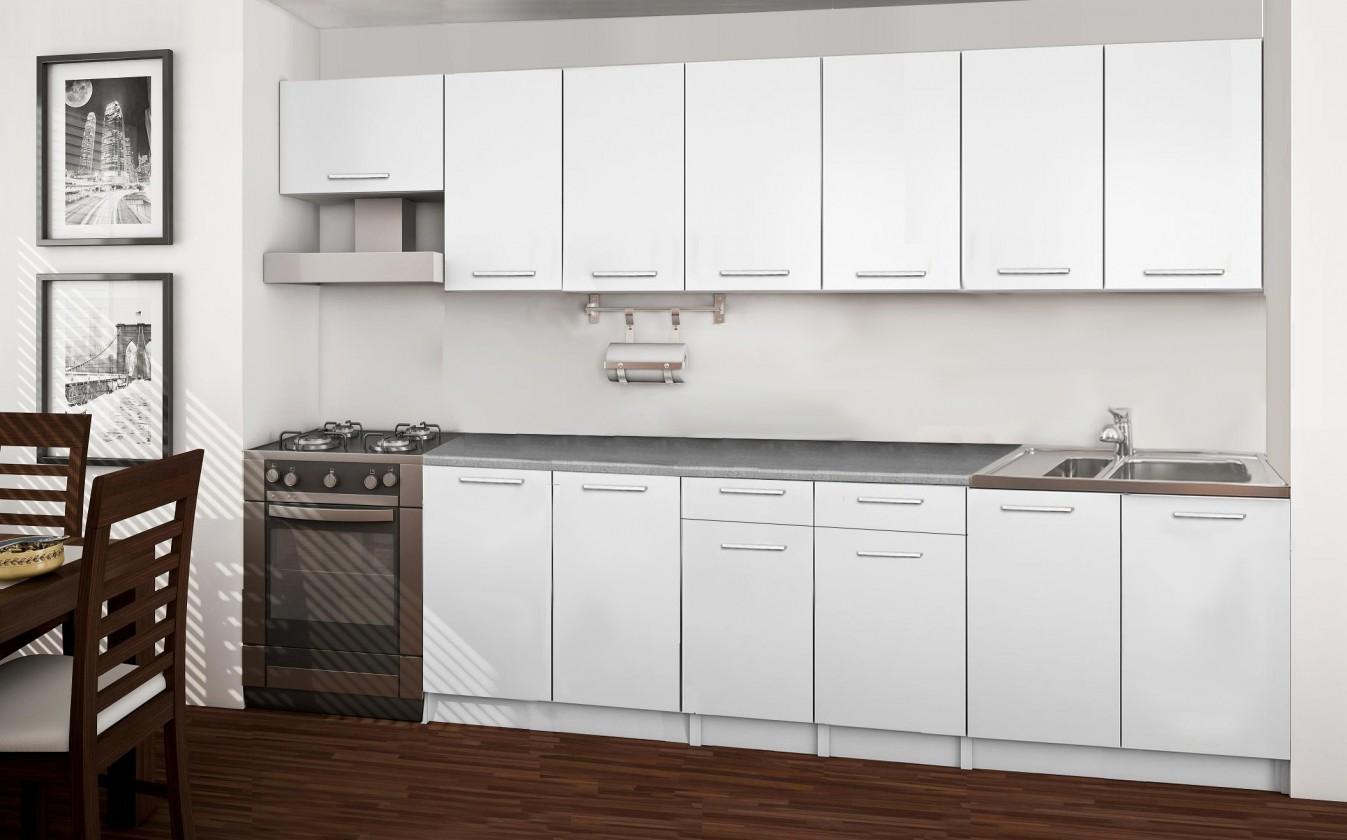 Rovná Basic - kuchyňský blok F, 300 cm (bílá)