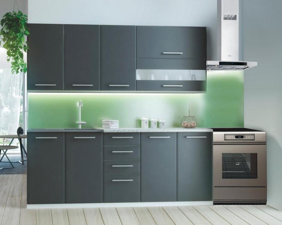 Rovná Cora - Kuchyňský blok 200 cm (šedá, bílá, světlý granit)